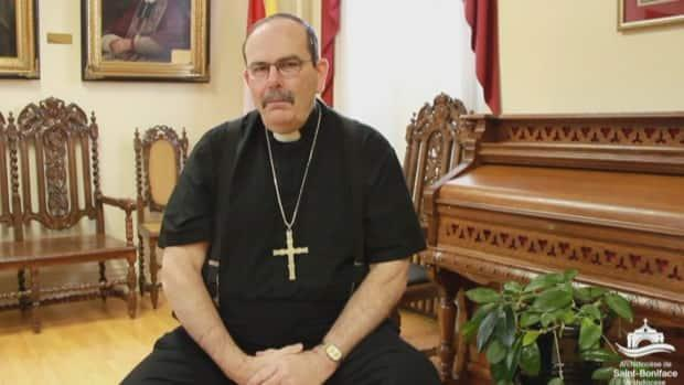 Archbishop Albert LeGatt of Manitoba's St. Boniface Catholic diocese says Father Rhéal Forest 'deeply, deeply hurt people' with his recent remarks about residential school survivors.  (Archdiocese of St. Boniface/Facebook - image credit)