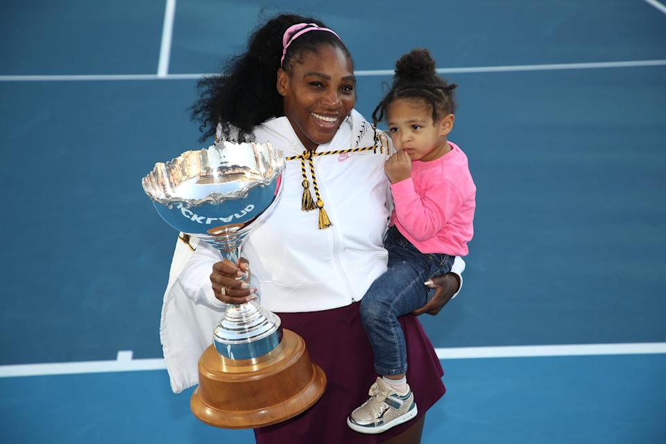 AUCKLAND, NEW ZEALAND - JANUARY 12: Serena Williams of the USA holds her daughter Alexis Olympia with the trophy following the Women's Final between Serena Williams and Jessica Pegula of the USA on day seven of the 2020 Women's ASB Classic at ASB Tennis Centre on January 12, 2020 in Auckland, New Zealand. (Photo by Phil Walter/Getty Images)