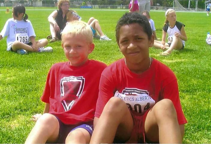 Chuba Hubbard (right) and his childhood friend Simon Timmer (left).