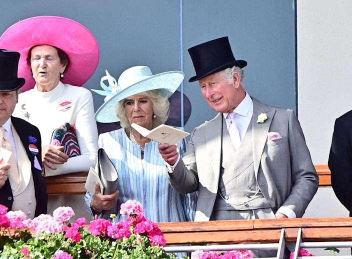 <p>Camilla, Duchess of Cornwall and Prince Charles look on during one of the races. </p>