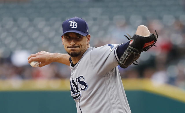 Tampa Bay Rays starting pitcher Charlie Morton throws during the first inning of the team's baseball game against the Detroit Tigers, Wednesday, June 5, 2019, in Detroit. (AP Photo/Carlos Osorio)