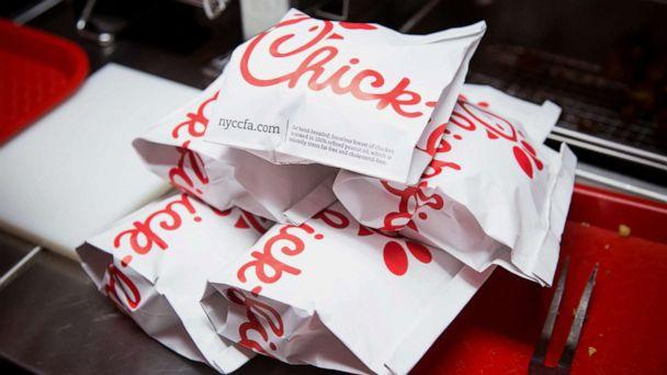 PHOTO: Prepared chicken sandwiches sit in a piie before being served to guests during an event ahead of the grand opening for a Chick-fil-A restaurant in New York, Oct. 2, 2015. (Michael Nagle/Bloomberg via Getty Images, FILE)