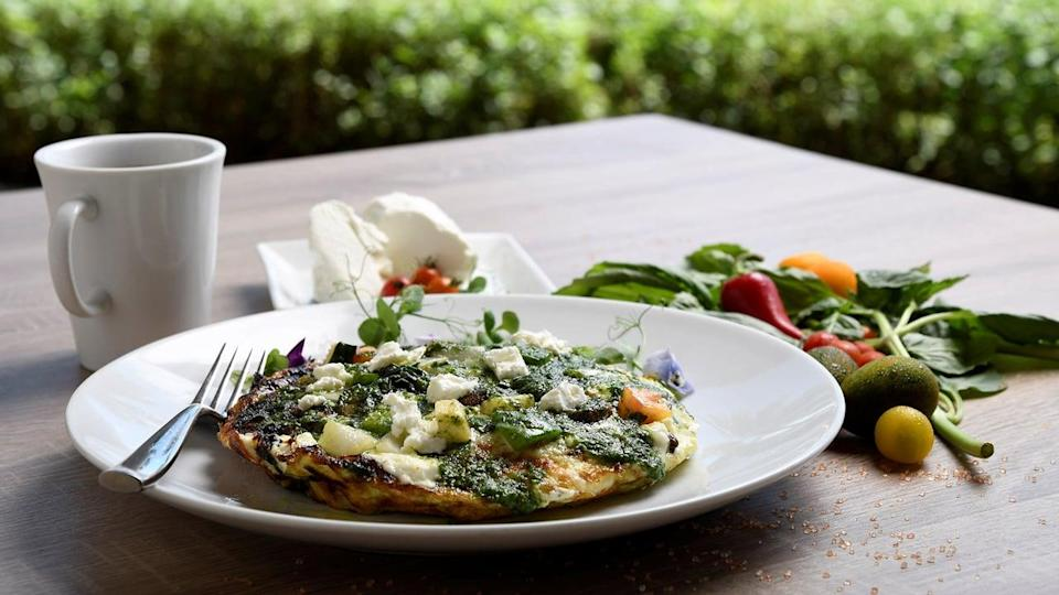 "<p>For a taste of the islands, consider the egg white frittata from Disney's Aulani Resort in Hawaii. The dish could pass as a large breakfast or a light dinner that will transport you right to the beach.</p> <p><strong>Get the recipe:</strong> <a href=""http://disneyparks.disney.go.com/blog/2017/08/recipe-egg-white-vegetable-frittata-with-macadamia-nut-pesto-at-aulani-a-disney-resort-spa/"" class=""link rapid-noclick-resp"" rel=""nofollow noopener"" target=""_blank"" data-ylk=""slk:Disney's egg white vegetable frittata with macadamia nut pesto"">Disney's egg white vegetable frittata with macadamia nut pesto</a></p>"