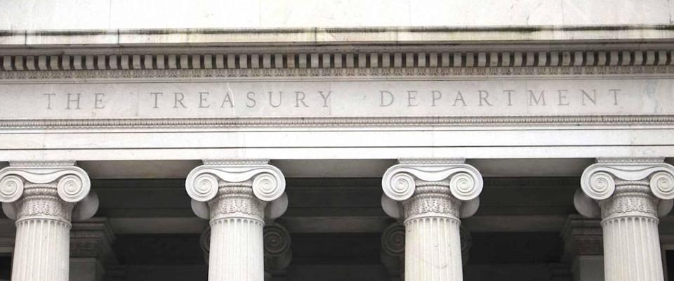 Washington, DC/USA March 8, 2019: U.S. Treasury Department building, north entrance (Pennsylvania Ave). Treasury is an executive department of the U.S. government.