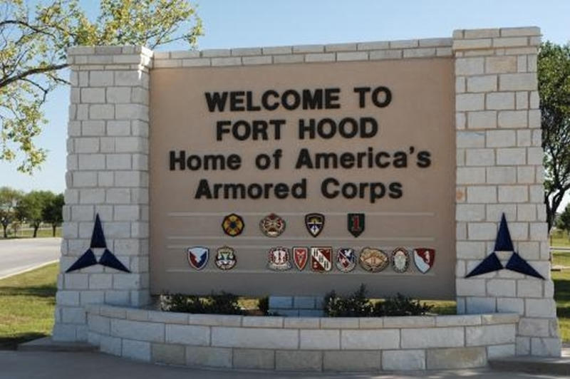 File handout photo of the main gate at the U.S. Army post at Fort Hood