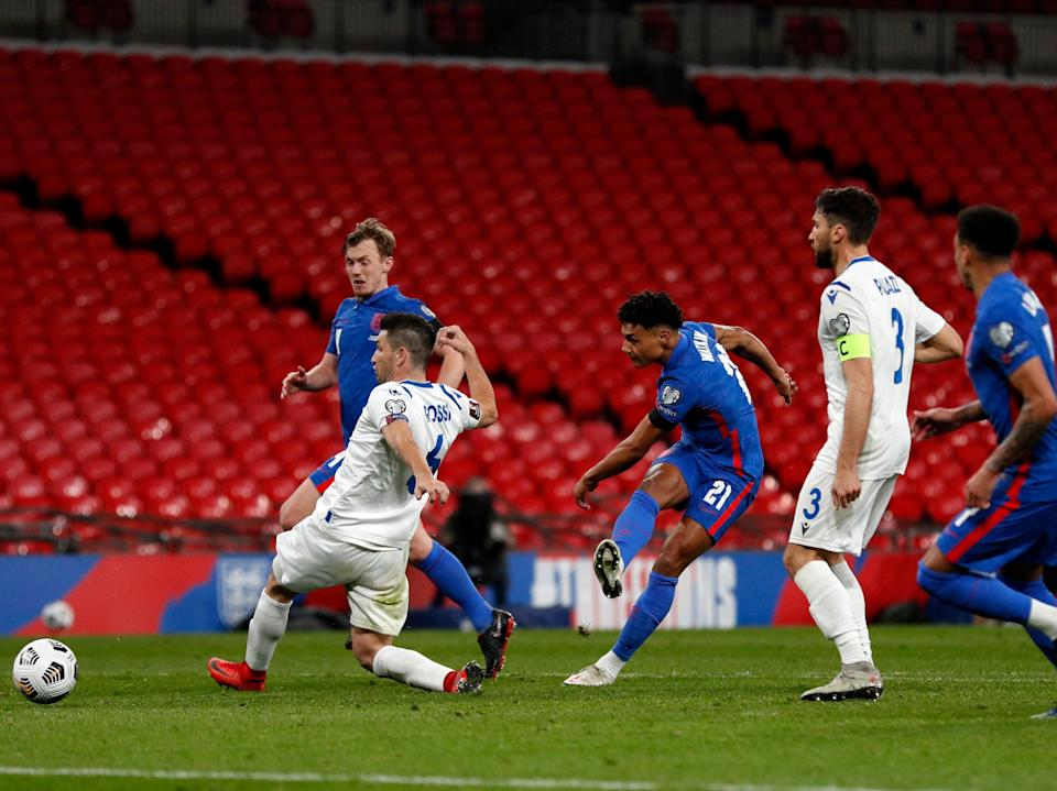 Second-half substitute Ollie Watkins (centre) netted late on (Getty Images)