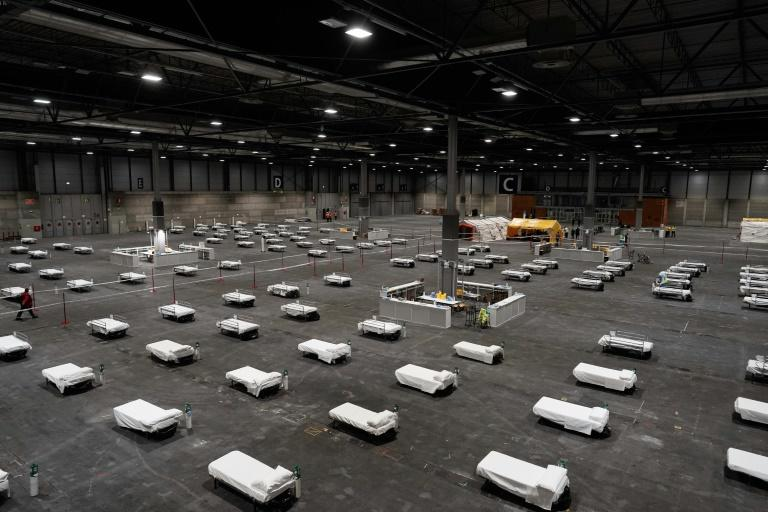 Madrid's regional government released this photo of a temporary hospital set up at the Ifema Convention Centre to cope with the crisis