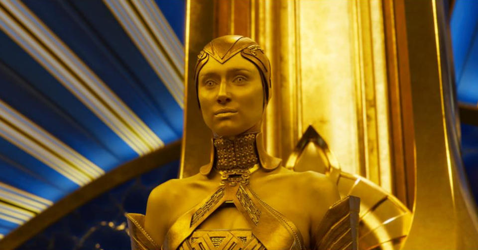 <p>In the comics, Ayesha (a.k.a. Kismet, Paragon, or Her) is a sometimes nemesis of the Guardians. In the film, she is the golden high priestess of a race called the Sovereign. (Photo: Marvel) </p>