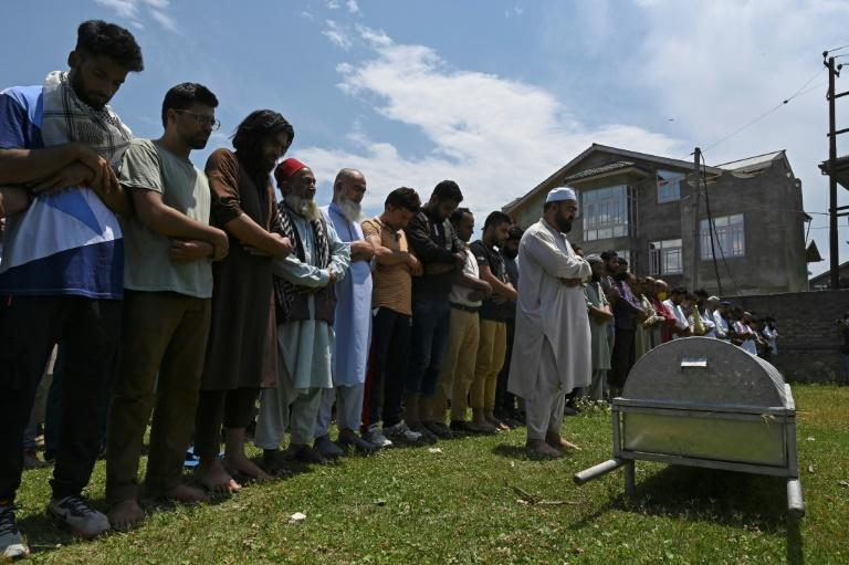 Hundreds of people have protested in Indian-administered Kashmir, accusing government forces of killing a civilian during a clash with rebels