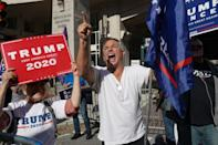 Trump supporter Michael Breitenbach protests outside the Pennsylvania Convention Center in Philadelphia as ballot counting takes places inside on November 6, 2020
