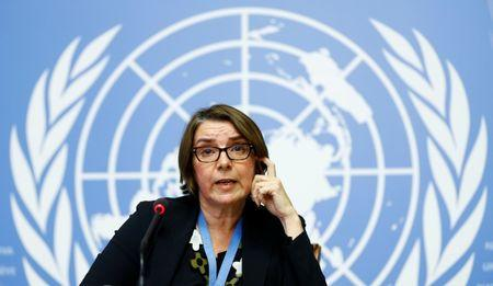FILE PHOTO: Catherine Marchi-Uhel of France, newly-appointed head of the International, Impartial and Independent Mechanism (IIIM) attends a news conference on Syria crimes at the United Nations in Geneva, Switzerland September 5, 2017. REUTERS/Denis Balibouse