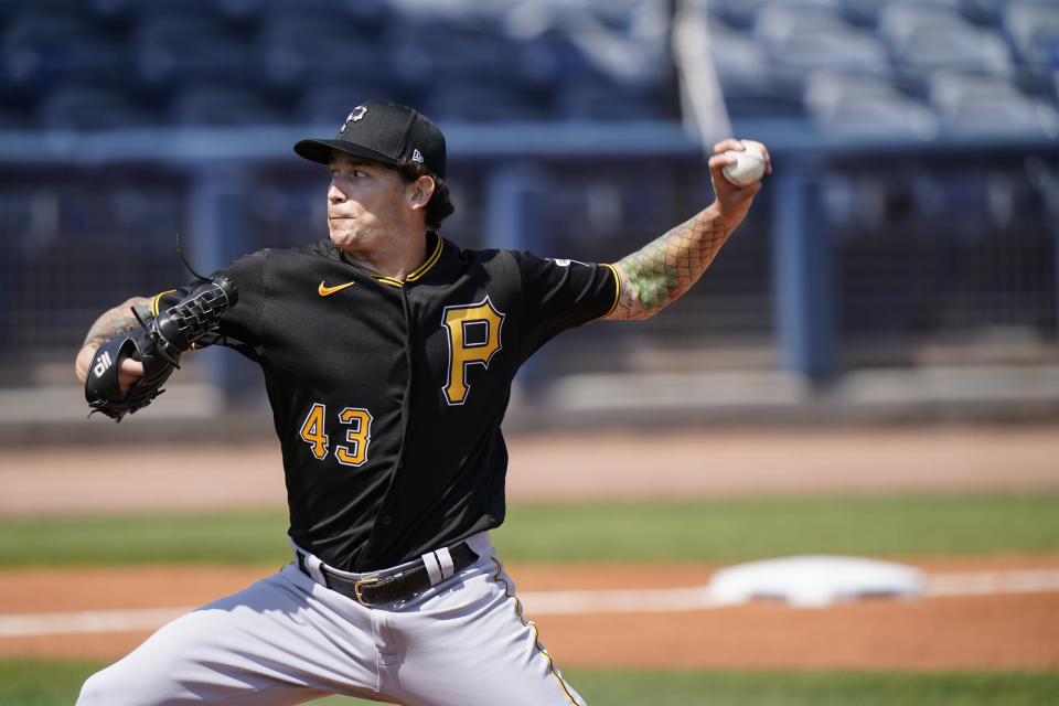 Pittsburgh Pirates pitcher Steven Brault delivers in the first inning during a spring training baseball game against the Tampa Bay Rays on Wednesday, March 3, 2021, in Port Charlotte, Fla. (AP Photo/Brynn Anderson)