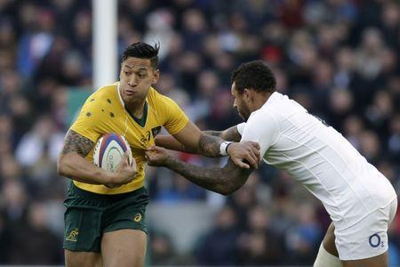 FILE PHOTO: Britain Rugby Union - England v Australia - 2016 Old Mutual Wealth Series - Twickenham Stadium, London, England - 3/12/16 England's Courtney Lawes in action with Australia's Israel Folau Action Images via Reuters / Henry Browne Livepic