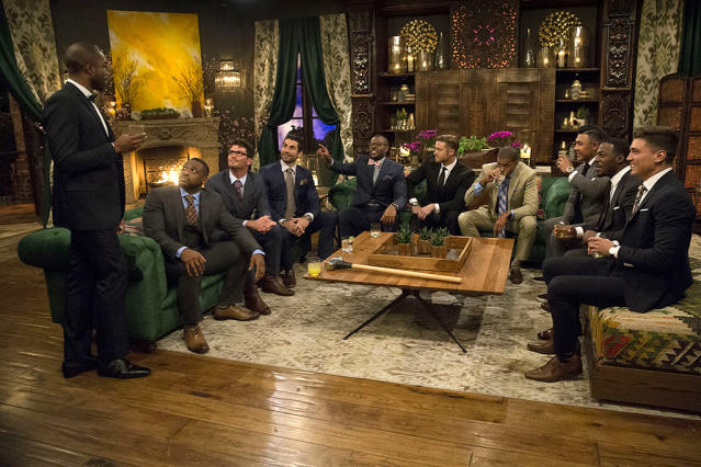 <p>Demario, Kenny, Robert, Alex, Kenneth, Blake E., Eric, Iggy, Fred and Dean on ABC's <i>The Bachelorette</i>. <br>(Photo: Paul Hebert/ABC) </p>
