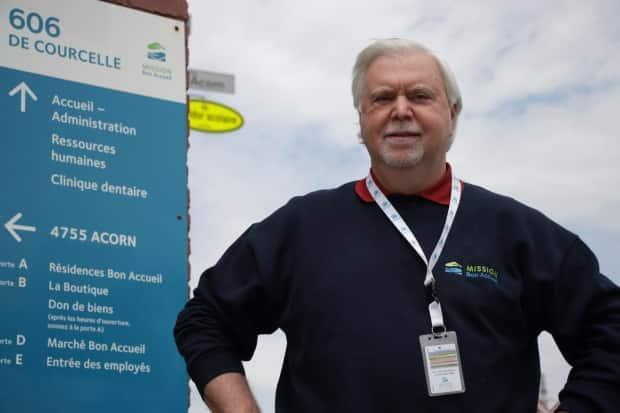 Welcome Hall Mission CEO Sam Watts, outside the organization's office in Saint-Henri.
