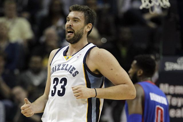 Memphis Grizzlies' Marc Gasol (33), of Spain, celebrates after a basket during the first half of an NBA basketball game against the Detroit Pistons in Memphis, Tenn., Friday, Nov. 1, 2013. (AP Photo/Danny Johnston)