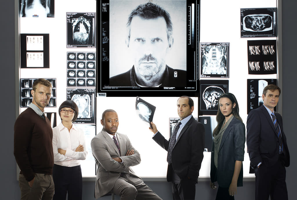 """<b>""""House""""</b><br>Monday, 5/21 at 9 PM on Fox<br><br>Hugh Laurie will make his final rounds as the gloriously grumpy Dr. Gregory House when Fox's medical drama ends its eight-season run. And he'll be joined by a host of old colleagues: Ex-cast members Olivia Wilde, Kal Penn, and Jennifer Morrison are set to return for the series finale. But with an episode title like """"Everybody Dies,"""" it sounds like the series plans to go out on a grim note. Is this a hint that we'll be saying goodbye to the cancer-ridden Dr. Wilson?<br><br><a href=""""http://yhoo.it/IHaVpe%20"""">More on Upcoming Finales </a>"""
