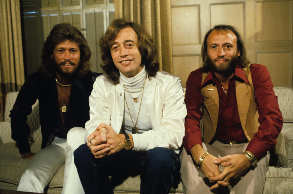 The popular disco band, The Bee Gees, pose for a portrait. (Photo by Steve Schapiro/Corbis via Getty Images)
