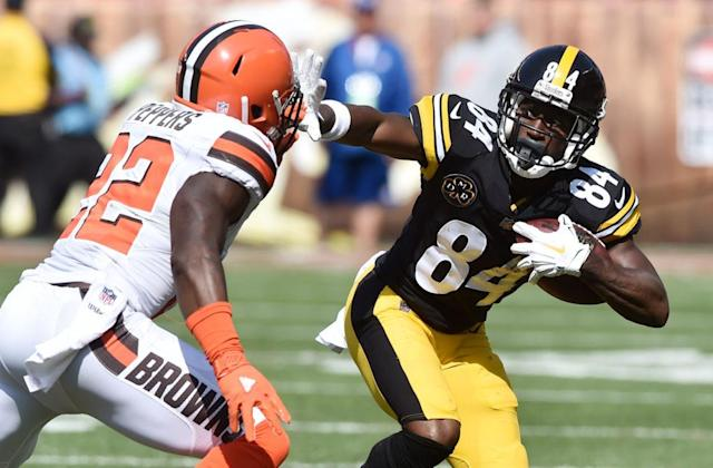 """Of his new touchdown dance, Pittsburgh Steelers wide receiver Antonio Brown tells Yahoo Sports:""""You gotta kind of visualize it, practice it in the mirror."""""""