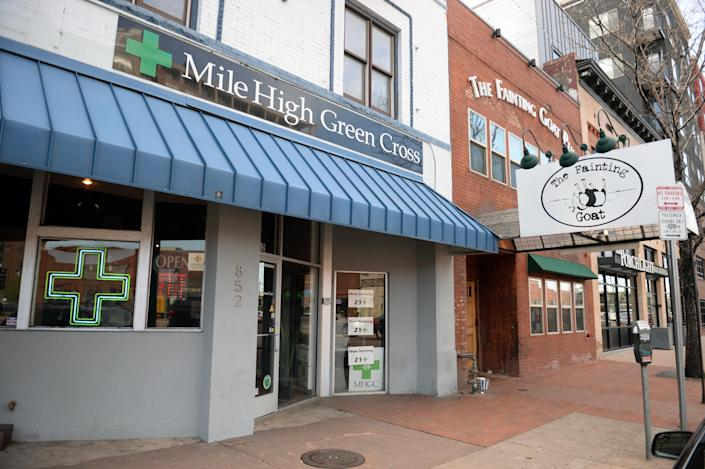 """Mile High Green Cross is a recreational and medical marijuana dispensary serving the greater Denver area. Located south of downtown, the shop is one of many that makes up the city's """"Green Mile."""" (Photo: Vince Chandler/The Denver Post)"""