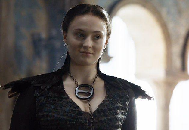 <p>At the end of Season 4, after helping Littlefinger cover up her Aunt Lysa's murder, Sansa reemerges with a new, bold style: a stunning black dress with feathered sleeves, a homemade statement necklace, and darker hair. At this point, she's ready to embrace the dark side-working with Littlefinger. </p>