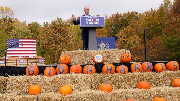 PHOTO: Democratic presidential candidate former Vice President Joe Biden speaks at a campaign stop at Bucks County Community College, Oct. 24, 2020, in Bristol, Pa. (Andrew Harnik/AP)