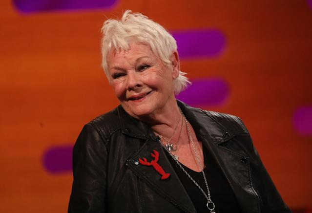 Judi Dench during the filming for the Graham Norton Show at BBC Studioworks 6 Television Centre, Wood Lane, London, to be aired on BBC One on Friday evening. (Photo by Isabel Infantes/PA Images via Getty Images)