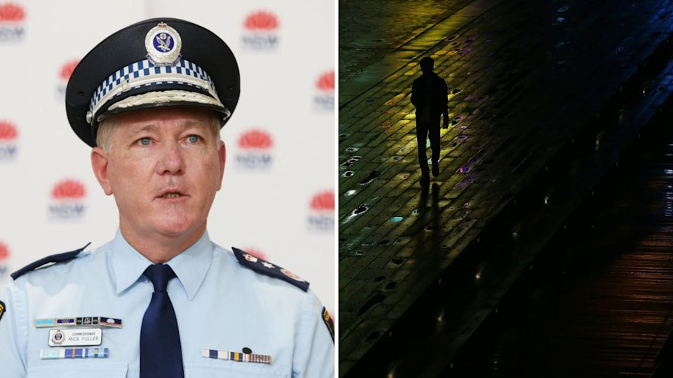 NSW Police Commissioner Mick Fuller speaks at COVID-19 press conference, person walks on deserted Sydney street at night.