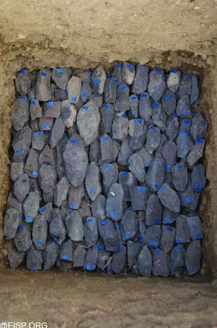 """This photo shows basalt tools, removed from the excavations. <br> <a href=""""http://www.eisp.org/"""" rel=""""nofollow noopener"""" target=""""_blank"""" data-ylk=""""slk:For more information visit the Easter Island Statue Project"""" class=""""link rapid-noclick-resp"""">For more information visit the Easter Island Statue Project</a>"""