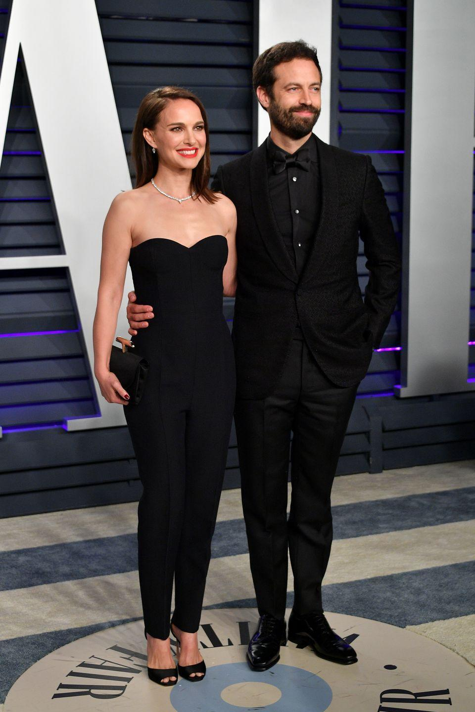 """<p>Natalie Portman may have been dreaming of Mila Kunis in Black Swan, but she was <a href=""""https://www.usmagazine.com/celebrity-news/news/natalie-portman-recalls-meeting-husband-benjamin-millepied-on-black-swan-set/"""" rel=""""nofollow noopener"""" target=""""_blank"""" data-ylk=""""slk:leaving with dancer and choreographer Benjamin Millepied"""" class=""""link rapid-noclick-resp"""">leaving with dancer and choreographer Benjamin Millepied</a>. By the time she accepted the Oscar for the role in 2011, she was pregnant with her and Benjamin's first child. 'So many people helped me prepare for this role,' <a href=""""https://youtu.be/BYvUm1YJBSs"""" rel=""""nofollow noopener"""" target=""""_blank"""" data-ylk=""""slk:Portman said"""" class=""""link rapid-noclick-resp"""">Portman said</a> in her acceptance speech. '... and my beautiful love, Benjamin Millepied, who choreographed the film and has now given me my most important role of my life.'</p>"""