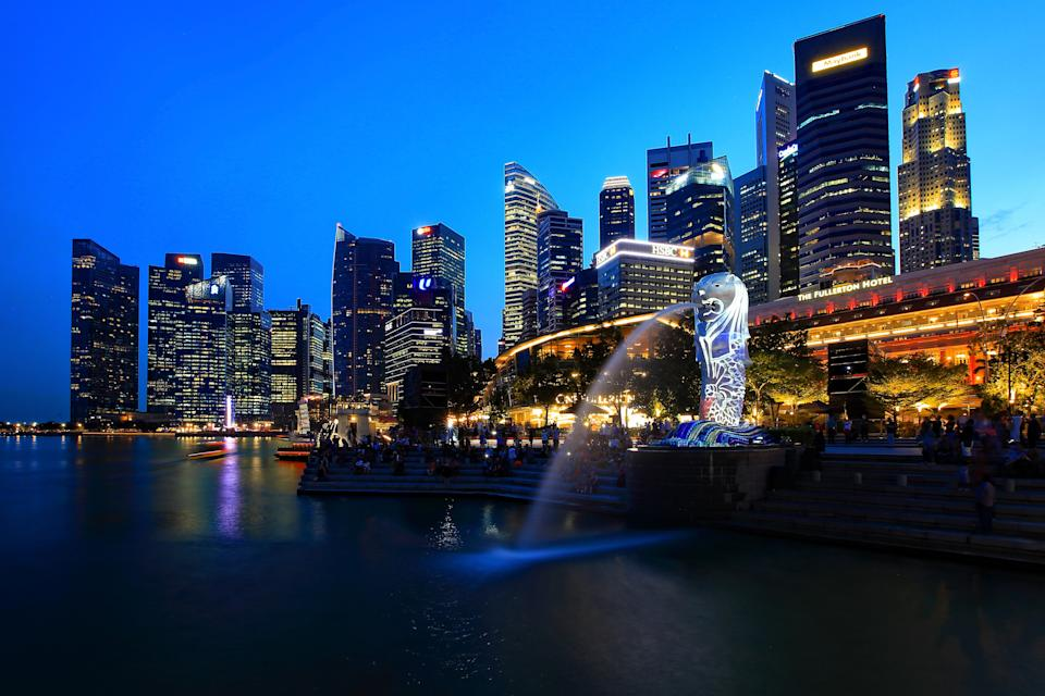 A general view of the Central Business District and the Merlion. (Photo by Suhaimi Abdullah/Getty Images)