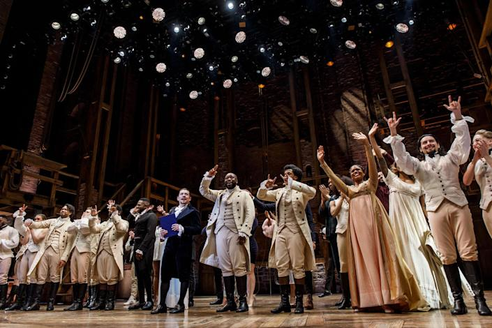 "Miguel Cervantes and the cast of ""Hamilton"" take a curtain call after the final production of the show in Chicago on Jan. 5, 2020, at the CIBC Theatre. (Brian Cassella/Chicago Tribune/Tribune News Service via Getty Images)"