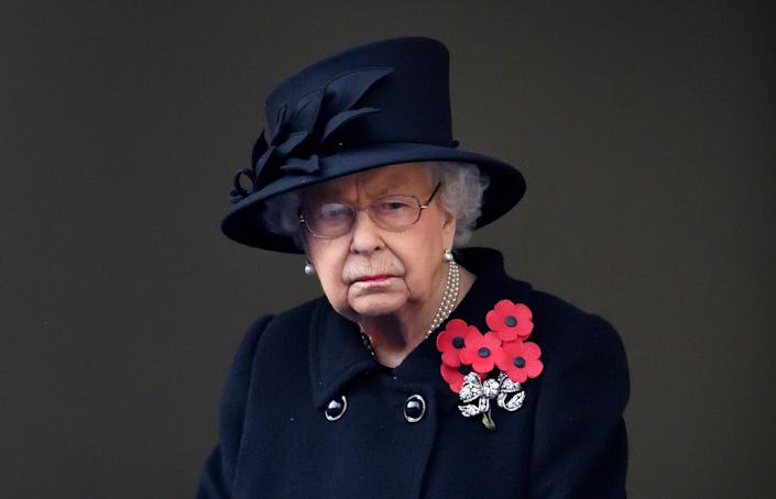 LONDON, UNITED KINGDOM - NOVEMBER 08: (EMBARGOED FOR PUBLICATION IN UK NEWSPAPERS UNTIL 24 HOURS AFTER CREATE DATE AND TIME) Queen Elizabeth II attends the National Service of Remembrance at The Cenotaph on November 8, 2020 in London, England. Remembrance Sunday services were substantially scaled back today due to the current restrictions on gatherings, intended to curb the spread of covid-19. (Photo by Pool/Max Mumby/Getty Images)