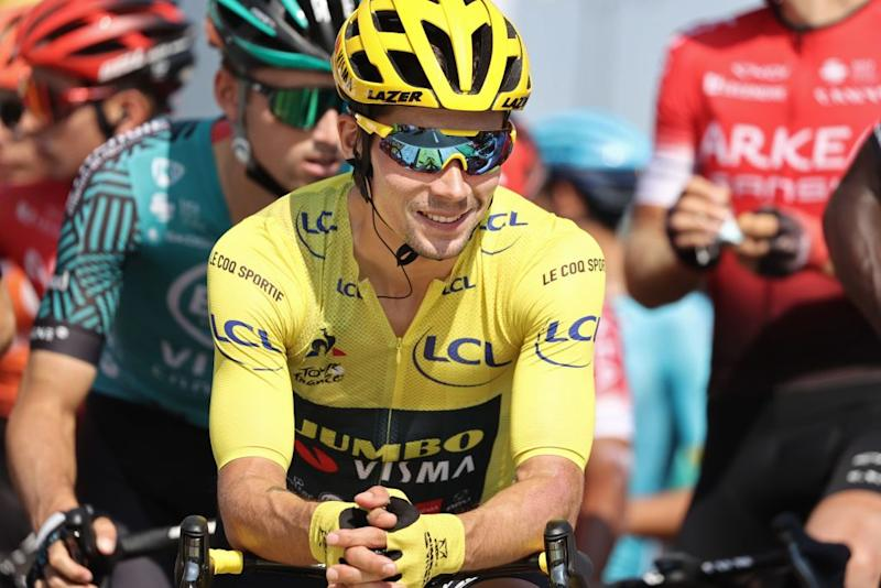 Team Jumbo rider Slovenias Primoz Roglic wearing the overall leaders yellow jersey waits prior to the 19th stage of the 107th edition of the Tour de France cycling race 160 km between BourgenBresse and Champagnole on September 18 2020 Photo by KENZO TRIBOUILLARD AFP Photo by KENZO TRIBOUILLARDAFP via Getty Images