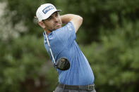 Louis Oosthuizen of South Africa, watches his tee shot on the 18th hole during the third round of the World Golf Championship-FedEx St. Jude Invitational Saturday, Aug. 1, 2020, in Memphis, Tenn. (AP Photo/Mark Humphrey)