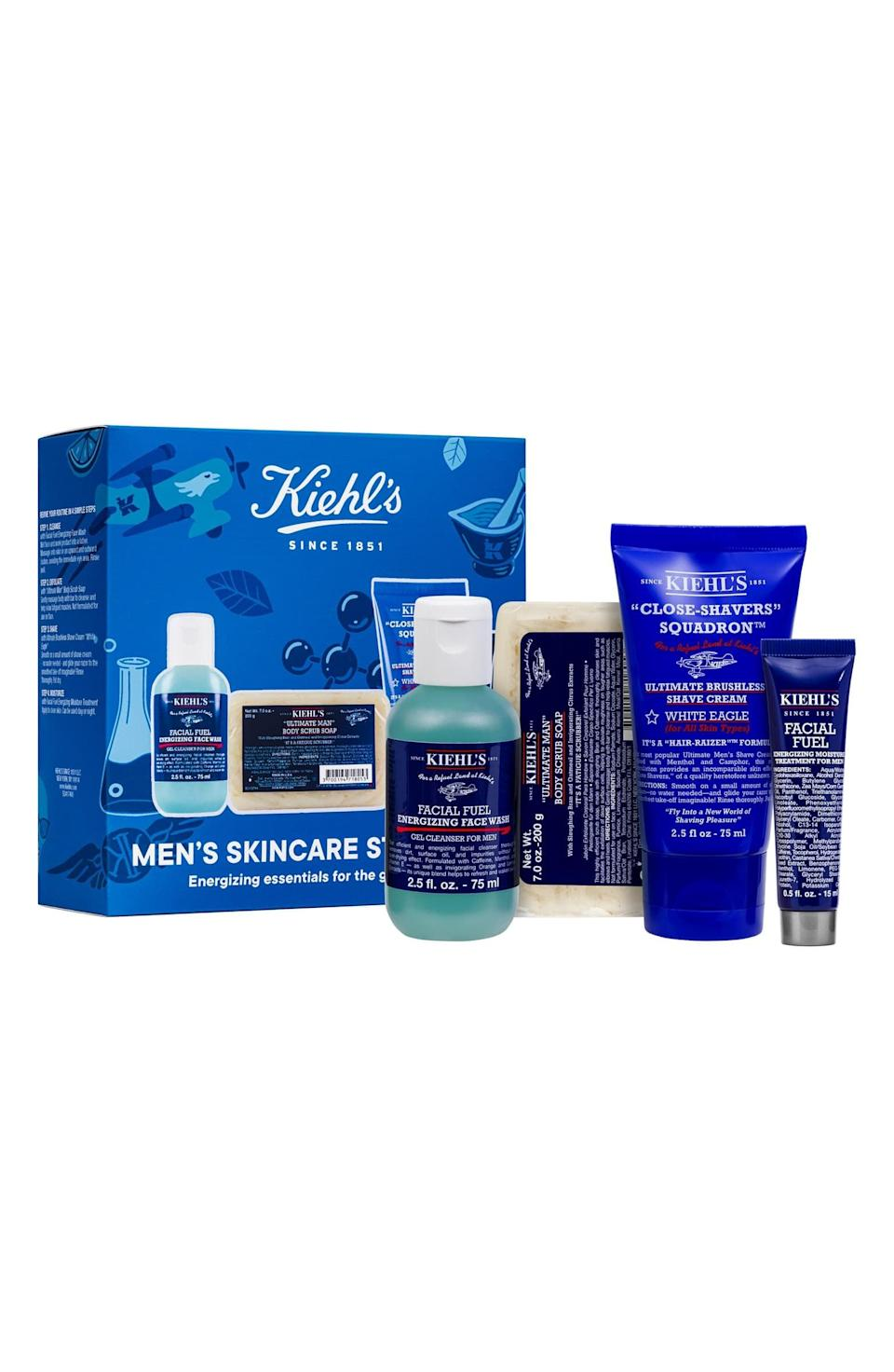 <p>This <span>Kiehl's Since 1851 Men's Groom On The Go Set</span> ($40) will ease him in to taking care of his skin with four products that are so simple to use.</p>