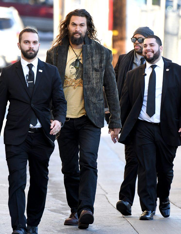 Jason Momoa wants everyone to know these guys are not his bodyguards. (Photo: PG/Bauer-Griffin/GC Images)