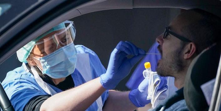 A person is tested for the coronavirus.