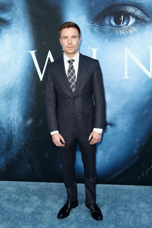 <p>Dempsey, who plays Gendry, smartened up in a traditional suit and patent shoes. (Photo: Getty Images) </p>