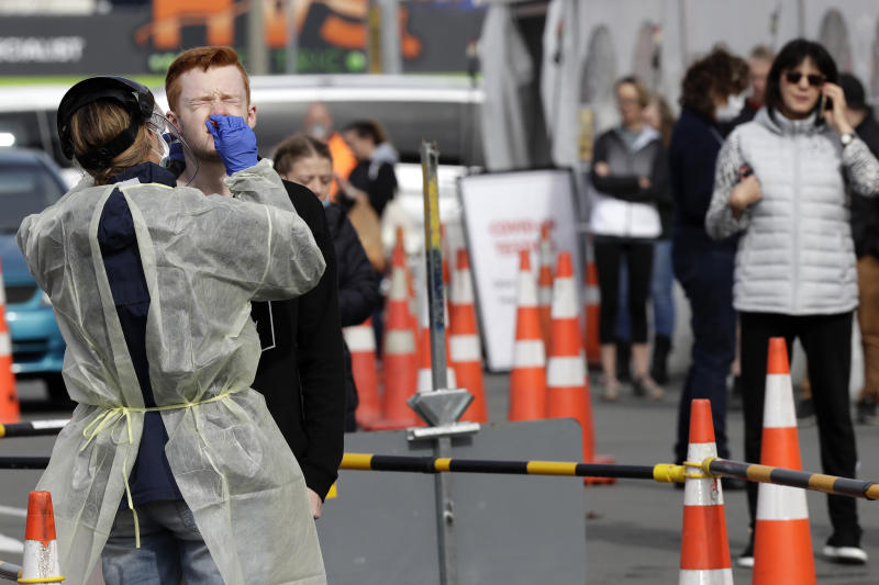 Testing in Christchurch, New Zealand, after the country recorded two new COVID-19 cases.