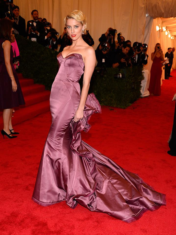 Amber Heard attends the 2012 Costume Institue Gala at the Metropolitan Museum of Art in New York City, NY on May 8, 2012.