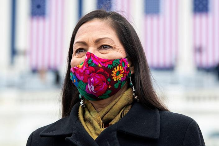 Deb Haaland, nominee to be Interior secretary, attends the inauguration of Joe Biden at the U.S. Capitol on Jan. 20, 2021.
