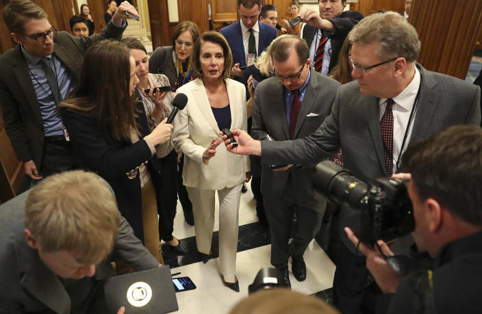 """<p>House Minority Leader Nancy Pelosi of Calif., speaks to reporters after she staged a record-breaking, eight-hour speech in hopes of pressuring Republicans to allow a vote on protecting """"Dreamer"""" immigrants on Capitol Hill in Washington. Wednesday, Feb. 7, 2018. (Photo: Pablo Martinez Monsivais/AP) </p>"""