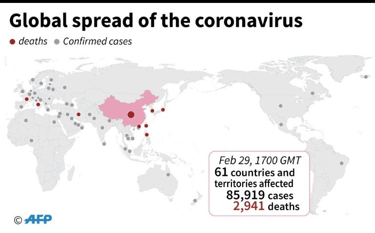 Countries and territories with confirmed cases of the new coronavirus as of February 29 at 1700 GMT