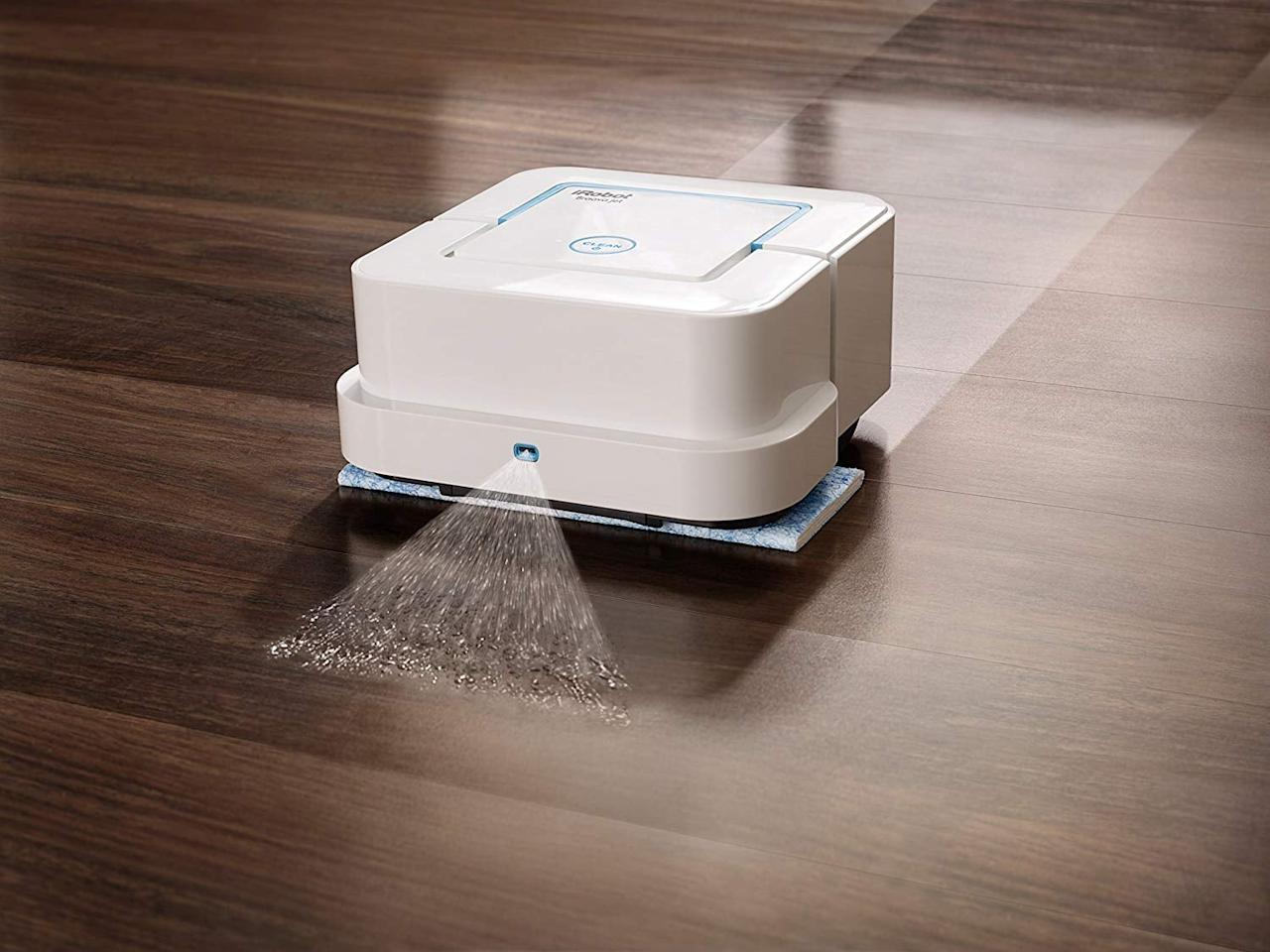 """<p>If you're a fan of the <a href=""""https://www.popsugartech.com/Amazon-Prime-Day-Roomba-Vacuum-Sale-2018-45058517"""" class=""""ga-track"""" data-ga-category=""""Related"""" data-ga-label=""""https://www.popsugar.com/moms/Amazon-Prime-Day-Roomba-Vacuum-Sale-2018-45058517"""" data-ga-action=""""In-Line Links"""">iRobot Vacuum</a>, then you'll want to give this <a href=""""https://www.popsugar.com/buy/iRobot-Braava-Jet-240-Robot-Mop-402779?p_name=iRobot%20Braava%20Jet%20240%20Robot%20Mop&retailer=amazon.com&pid=402779&price=170&evar1=geek%3Aus&evar9=45708741&evar98=https%3A%2F%2Fwww.popsugartech.com%2Fphoto-gallery%2F45708741%2Fimage%2F45708803%2FiRobot-Braava-Jet-240-Robot-Mop&list1=shopping%2Camazon%2Cgadgets%2Ctech%20shopping%2Chome%20shopping&prop13=mobile&pdata=1"""" rel=""""nofollow"""" data-shoppable-link=""""1"""" target=""""_blank"""" class=""""ga-track"""" data-ga-category=""""Related"""" data-ga-label=""""https://www.amazon.com/iRobot-Braava-jet-240-Robot/dp/B019OH9898?ref_=bl_dp_s_web_2594102011"""" data-ga-action=""""In-Line Links"""">iRobot Braava Jet 240 Robot Mop</a> ($170, originally $199) a try. It will clean your floors when you're not around, so you have nothing to worry about later.</p>"""