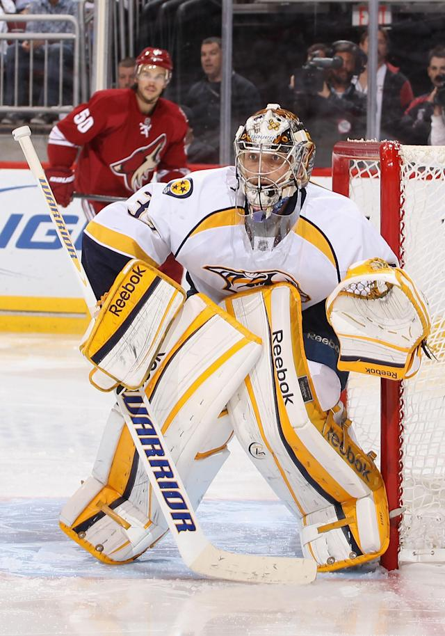 GLENDALE, AZ - APRIL 27: Goaltender Pekka Rinne #35 of the Nashville Predators protects the net in Game One of the Western Conference Semifinals against the Phoenix Coyotes during the 2012 NHL Stanley Cup Playoffs at Jobing.com Arena on April 27, 2012 in Glendale, Arizona. The Coyotes defeated the Predators 4-3 in overtime. (Photo by Christian Petersen/Getty Images)