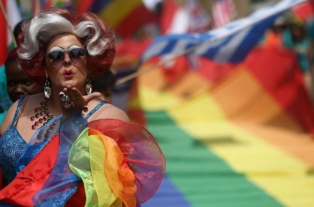 <p>Participants attend the annual Pride in London Parade, which started in Portland Place and ends in Whitehall, in central London, Britain, July 8, 2017. (Photo: Neil Hall/Reuters) </p>