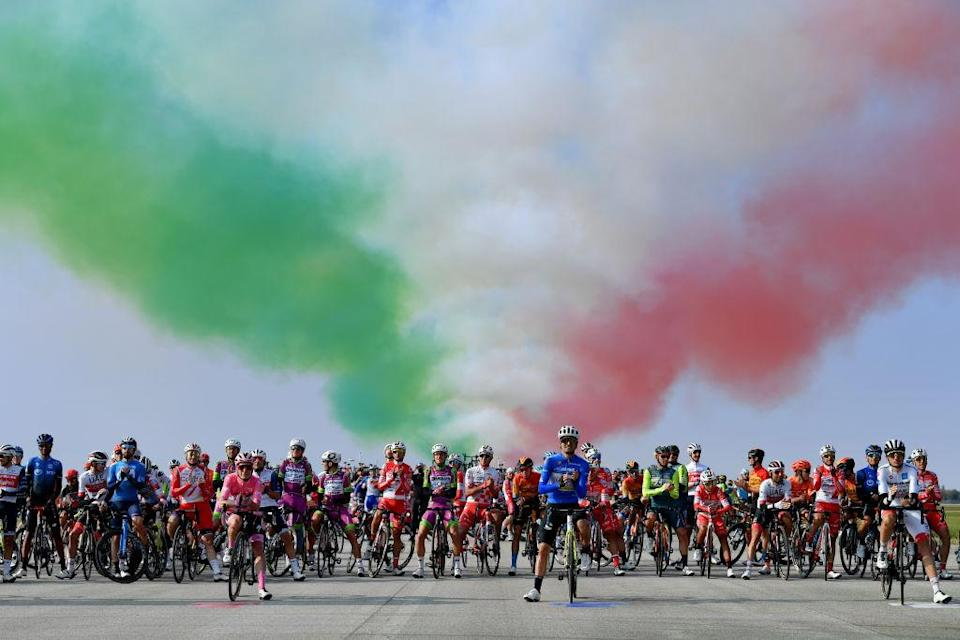 PIANCAVALLO ITALY OCTOBER 18 Start Brandon McNulty of United States and Team UAE Team Emirates White Best Young Rider Jersey during the 103rd Giro dItalia 2020 Stage 15 a 185km stage from Base Aerea Rivolto Frecce Tricolori to Piancavallo 1290m girodiitalia Giro on October 18 2020 in Piancavallo Italy Photo by Stuart FranklinGetty Images
