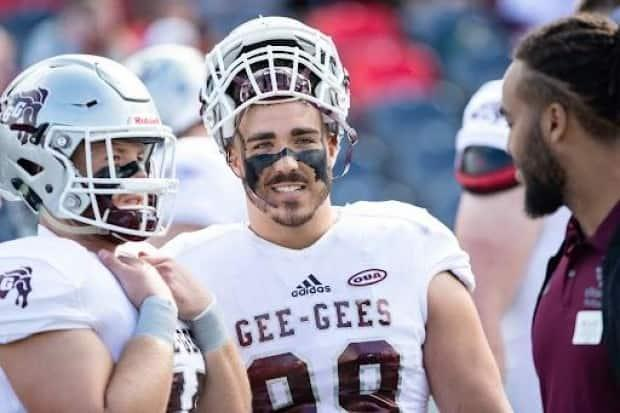 Francis Perron, a 25-year-old defensive lineman for the University of Ottawa Gee-Gees, died on Sept. 18, 2021, shortly after the team's season opener in Toronto. (University of Ottawa - image credit)