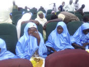 Some freed students of Salihu Tanko Islamic School, before a meeting with Niger state governor in Minna, Nigeria Friday, Aug 27, 2021. A school official in northern Nigeria says gunmen have released some of the more than 100 children who had been abducted back in May. The kidnapping victims from the Salihu Tanko Islamic School in Niger state had included children as young as 5 years old. (AP Photo)